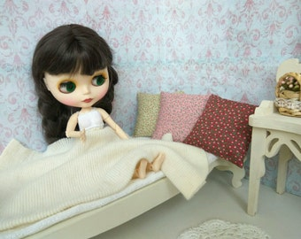 BLYTHE PILLOW SET. 3 small Extra pillow cushion for doll Blythe Pullip  Barbie. For diorama doll bedding Great gift Polka dot Flowers ooak