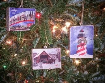 Original Vintage Custom Christmas Tree Ornament - Vintage Postcard Wood Transfer