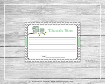 Owl Baby Shower Thank You Cards - Printable Baby Shower Thank You Cards - Green Owl Baby Shower - Shower Thank You Cards - Owl Baby - SP137