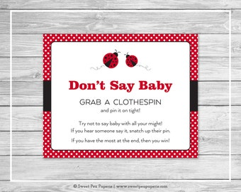 Ladybug Baby Shower Don't Say Baby Game - Printable Baby Shower Don't Say Baby Game - Ladybug Baby Shower - Don't Say Baby Game Sign - SP140