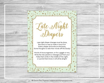 Mint and Gold Baby Shower Late Night Diapers Sign - Printable Baby Shower Late Night Diapers - Mint and Gold Confetti Baby Shower - SP147