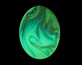 Walking on Clouds  - Glow-in-the-dark pendant with a beautiful abstract soap film pattern  - B4