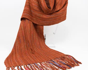 Handwoven Copper Rayon Shawl/Wrap