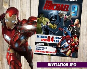 Avenger invitation, Avenger Party, Avenger Birthday Invitation, Avenger Invitation, Avenger printable, Hulk Iron man Spiderman Avenger