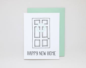 New Home Card: Happy New Home // letterpress new home card, new homeowners, housewarming card, housewarming gift, new house, new apartment