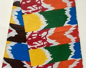 African Print Fabric/ Dutch Wax/ Ankara - Multicolored  'Colours Afrique' Design, YARD or WHOLESALE