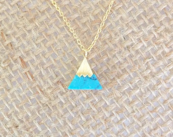 Turquoise Stone triangle Necklace small, gold, short dainty delicate turquoise stone triangle necklace