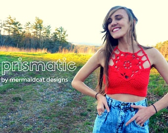 Crochet crop top flower halter pattern - Prismatic