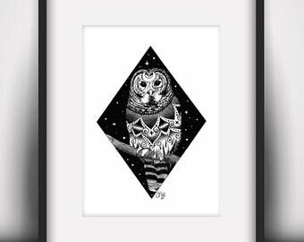 Night Owl Art Print (A5 / 5.8 x 8.3 in)