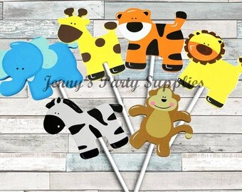 Set of 6 Safari Animal Centerpieces, Jungle Animal Centerpieces, Noah's Ark Centerpieces, Safari Diaper Cake Toppers