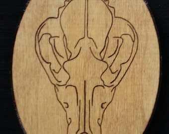 Wolf Skull - Pyrography on Pine Wood Oval