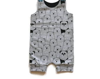 Baby bear sunsuit romper-9 to 12 months-Baby short romper-Baby clothes-Summer romper-Bear and panda print-Monochrome romper-Grey-Baby set