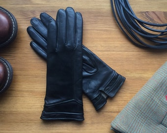 Black leather gloves / womens gloves