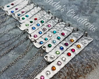 Birthstone Bar Necklace, Minimalist, Minimalist Jewelry, Minimalist Necklace, Gift for Mom, Children's Birthstones, Gift for Grandma