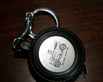 Miniature tape measure keychain