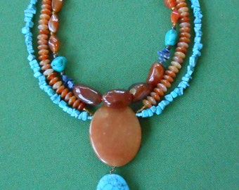 Karneol-necklace with turquoise and Lapis, necklace