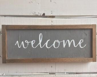 Welcome wood sign * handmade * custom * rustic