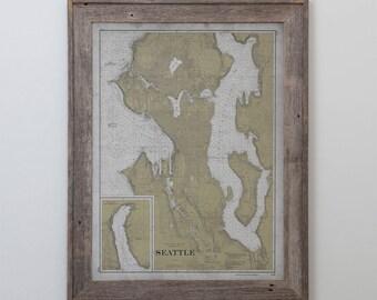 Seattle Map - Old Nautical Map of Seattle, Washington - Circa 20th C. - Weathered Map