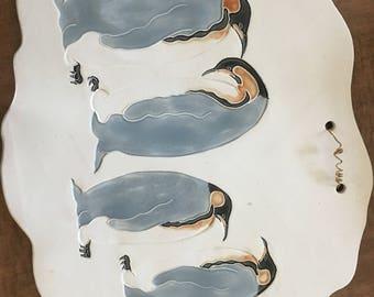 Signed Ceramic slab with penguins