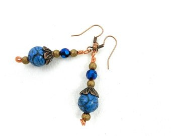 Royal Blue Earrings, Royal Blue Turquoise Earrings, Copper Earrings, Blue Crystal Earrings
