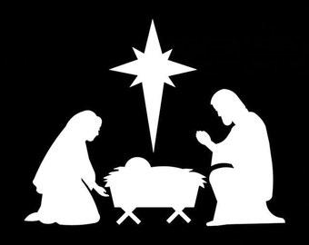 "382# Nativity Scene Christmas Decoration Ornaments Silhouette Die cut Decal 3"" -12"" Decoration Window Choose Color Mirror Houseware Home"