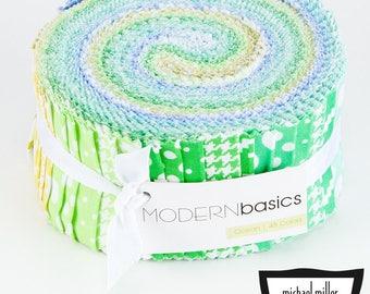 Michael Miller Modern Basics Ocean Jelly Roll - 45 Pieces
