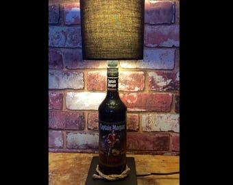 Captain Morgan Rum Black Bottle Lamp with Black Shade. Table Bedroom Light