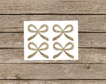 Glitter Bow Sticker, Gold Glitter Bow Stickers, Gold Glitter Bow Envelope Seal, Glitter Envelope Seal, Bow Envelope Seal,Bow Invitation Seal
