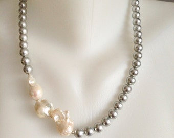 Baroque pearl necklace,  Shell pearl necklace,  Statement necklace,  Pearl Necklace