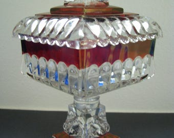 "Westmoreland Wedding Bowl comport Ruby stained perfect line #1874 large 10"" tall Glass"