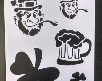Shamrock St. Patricks Day Leprechaun Beer Custom Stencil FAST FREE SHIPPING