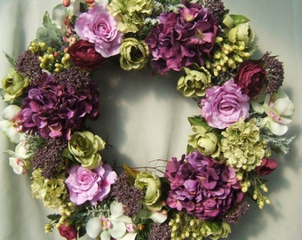PURPLE and GREEN WREATH,Spring Wreath, Summer Wreath, Silk Floral Wreath, Wreaths,Door Wreath, Silk Flower Wreath, Hydrangea Wreath, Florals