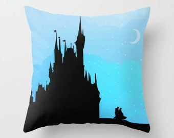 cinderella and prince charming. disney sunset  castle silhouette.....  disney inspirational quote throw pillow with insert