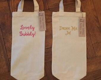 Personalised Bottle Cotton Bag Wine Bag Booze Bag Bespoke Cotton Gift Bag