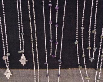 Hamsa charm pendant Labradorite Amethyst crystal layering necklace