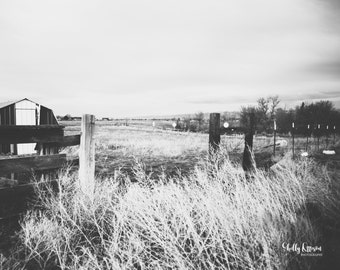 Print Rural Landscape Black and White Photo