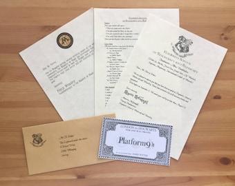 Hogwarts Acceptance Letter - Personalised