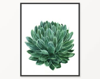Printable botanical print, Agave print, instant download cactus, green wall art, tropical print, agave watercolor, botanical green print