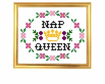 PDF ONLY Nap Queen Modern Subversive Cross Stitch Template Pattern Instant PDF Download