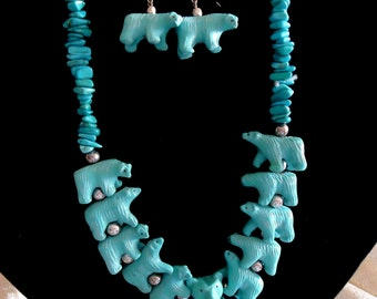 Southwestern genuine Turquoise Chip and Bear Necklace and Earring set with Silver Accent beads .