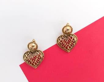 MONET Romeo & Juliette petite heart earrings (1990s)
