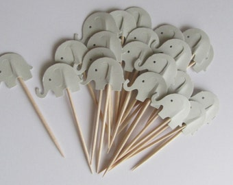 Grey Elephant Cupcake Toppers, Elephant Baby Shower Toppers,  Baby Shower Cupcake Toppers, Baby Elephant Foodpicks, Elephant Party Toppers