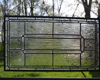 Clear leaded stained glass panel 19 x 11