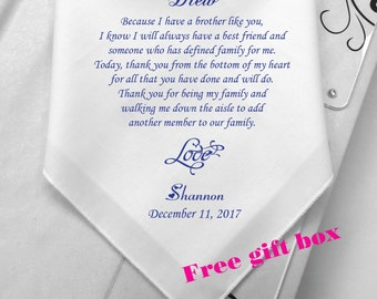 Personalized Wedding Gift For Brother : Brother Of Bride Wedding Handkerchief -Custom Hanky Wedding Gift For ...