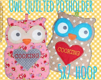Quilted owl potholder - 5x7 hoop - In The Hoop - Machine Embroidery Design File, digital download