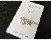 "Origami Fox Gold and White Enamel Pin 1.5"""
