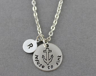 Antique Silver Refuse To Sink Necklace - Anchor Necklace - Refuse To Sink Pendant Charm Necklace - Personalized Anchor Jewelry