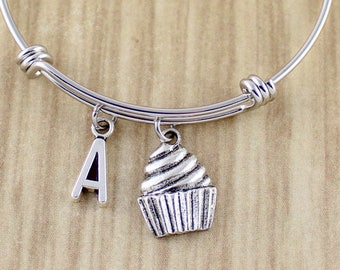 Silver Cupcake Charm Bangle | Cupcake Bangle Bracelet with Option of Initial Charm | Baker Gifts | Cupcake Jewelry | Sweet Ride Accessories