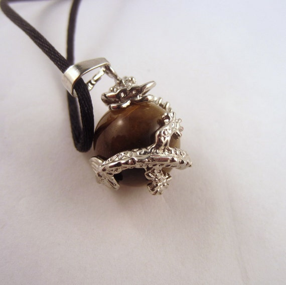 Tigers Eye Dragon ball Necklace: Natural Crystal Pendant, Stone Jewelry