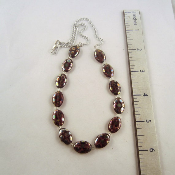 czech glass necklace purple polka dot